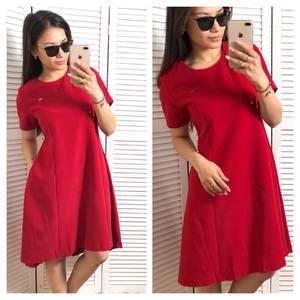 Платье короткое однотонное красное Т1526