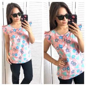 Блуза розовая с цветочным принтом Т1558