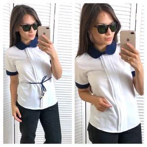 Блуза белая с коротким рукавом Т4319