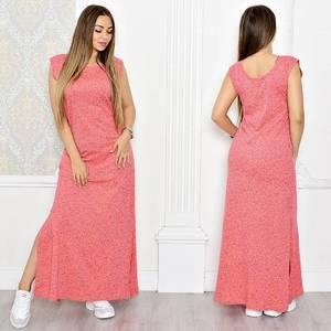 Платье длинное красное с разрезом на ноге Т1314