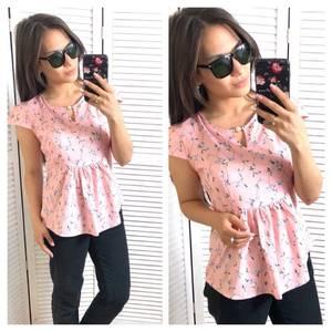 Блуза розовая с цветочным принтом Т1428