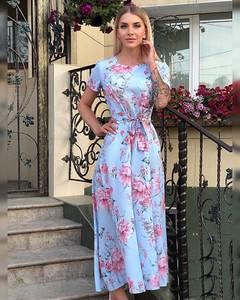 Платье длинное с принтом Ч2519