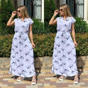 Платье длинное с принтом Ш1166