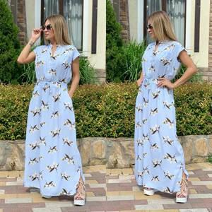 Платье длинное с принтом Ш1167