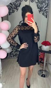 Платье короткое с длинным рукавом Ц9618