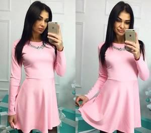 Платье короткое коктейльное с длинным рукавом Х0607