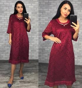 Платье короткое нарядное красное Ф1412