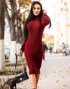 Платье длинное красное с длинными рукавами Х5380
