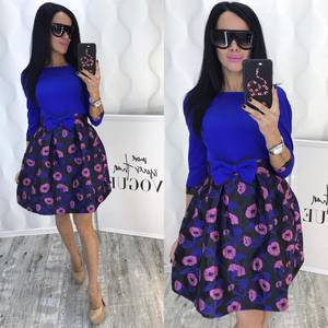 Платье короткое коктейльное синее Ф4770