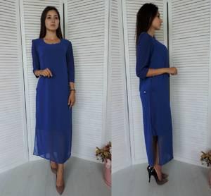 Платье длинное синее повседневное У9821