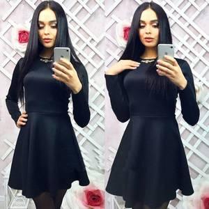Платье короткое с длинным рукавом однотонное Х0608