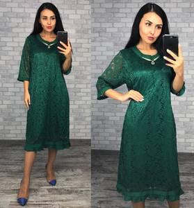 Платье короткое нарядное зеленое Ф1413