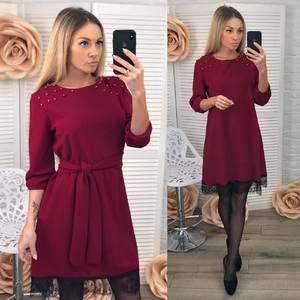 Платье короткое с рукавом 3/4 современное Х8377