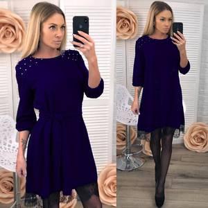 Платье короткое с рукавом 3/4 современное Х8379