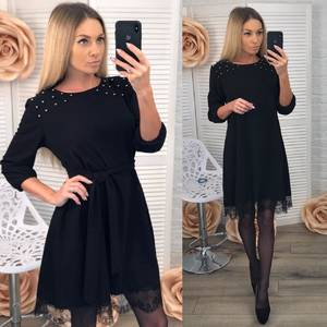 Платье короткое с рукавом 3/4 современное Х8380