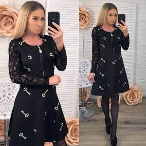 Платье короткое с длинным рукавом черное Ф6050