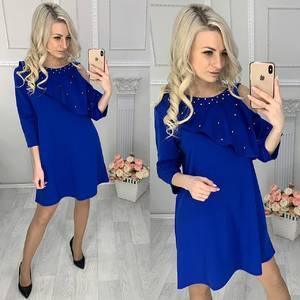 Платье короткое нарядное синее Х1509