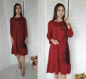 Платье короткое красное с принтом У9822
