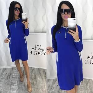 Платье короткое с длинным рукавом синее Ф4759