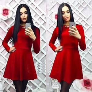 Платье короткое с длинным рукавом красное Х0606