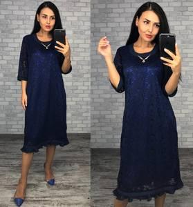Платье короткое нарядное синее Ф1414