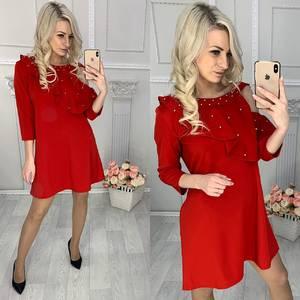 Платье короткое нарядное красное Х1512