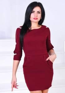 Платье короткое с рукавом 3/4 однотонное Х0610