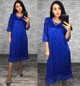 Платье короткое нарядное синее Ф1415