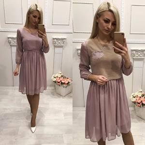 Платье Двойка короткое с рукавом 3/4 элегантное Ф5968