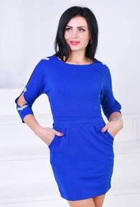 Платье короткое с рукавом 3/4 синее Х0609