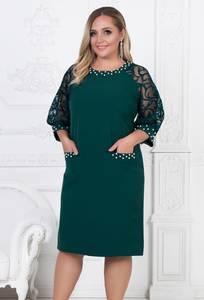 Платье короткое нарядное зеленое Ф5495