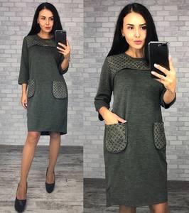 Платье короткое трикотажное зеленое Ф0383