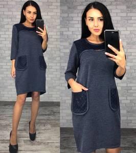 Платье короткое трикотажное синее Ф0385
