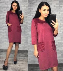 Платье короткое трикотажное красное Ф0386
