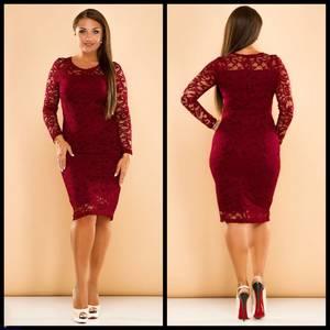 Платье короткое нарядное красное Ф7583