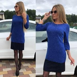 Платье короткое с рукавом 3/4 синее У0653