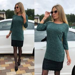 Платье короткое однотонное с рукавом 3/4 У0654