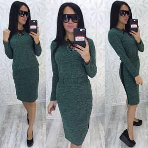 Платье короткое трикотажное однотонное У9302