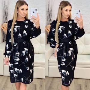 Платье короткое с длинным рукавом с принтом Х3902