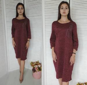 Платье короткое трикотажное однотонное У9465