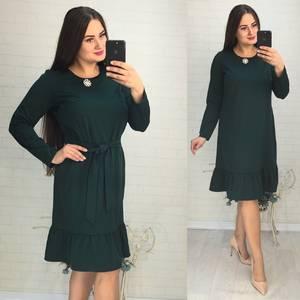 Платье короткое с длинным рукавом зеленое У9758