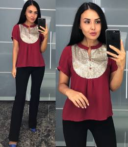 Блуза с коротким рукавом красная У8231