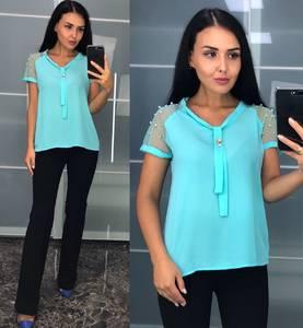 Блуза с коротким рукавом голубая У8227