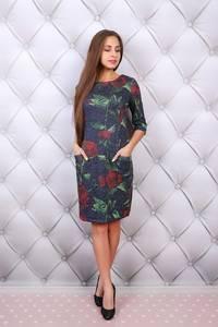 Платье короткое нарядное с принтом Ф9681