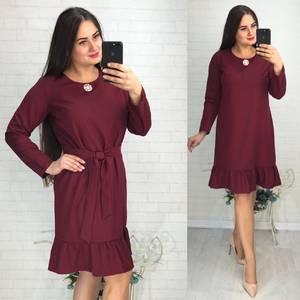 Платье короткое с длинным рукавом красное У9759