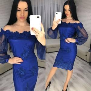 Платье короткое вечернее однотонное Х3341