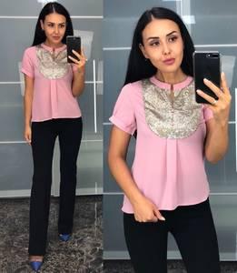 Блуза с коротким рукавом розовая У8232