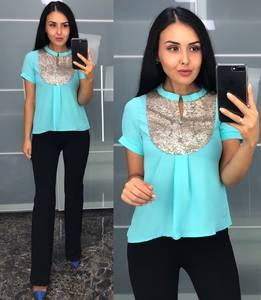 Блуза с коротким рукавом голубая У8233
