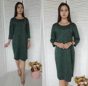 Платье короткое трикотажное однотонное У9467