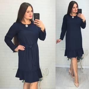 Платье короткое с длинным рукавом синее У9760